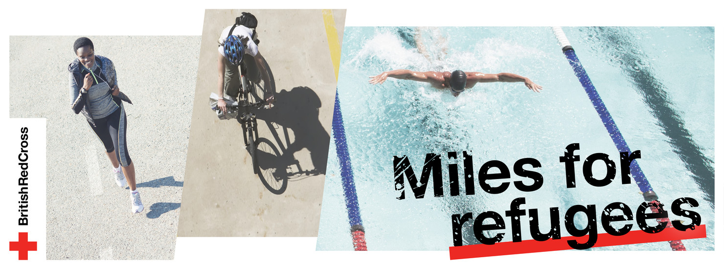 Banner showing running, cycling and swimming activities from left to right, with 'Miles for Refugees' written in the bottom right corner and the British Red Cross Logo.