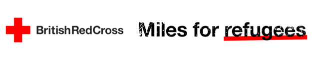 British Red Cross logo for the event Miles for Refugees - black text with a red cross and red underline on 'refugees'